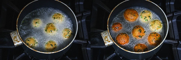 frying kofta balls for paneer kofta recipe