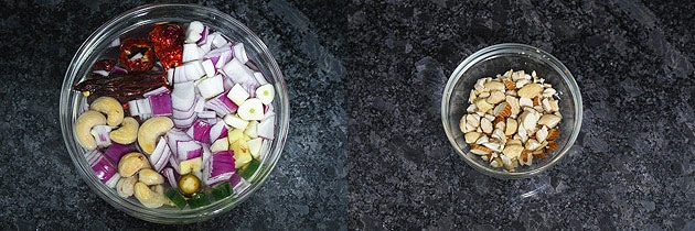 soaking onions and chopped nuts as a preparation for paneer kofta