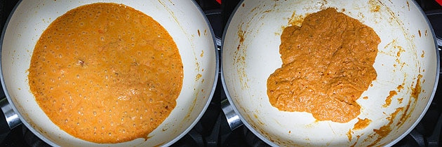 mixing and cooking tomato puree for paneer kofta curry