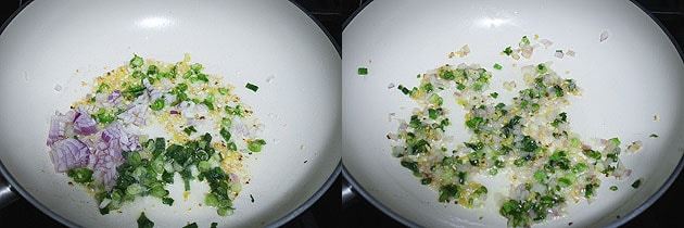 Saute onion and green onion till soft to make paneer fried rice