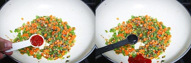 Add chili sauce and vinegar to veggies to make paneer fried rice