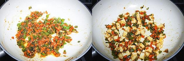 Toss the paneer in sauce, veggie mixture for paneer fried rice recipe