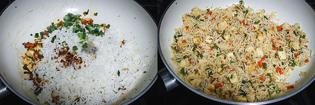 Mix in cooked rice and paneer fried rice is ready to serve