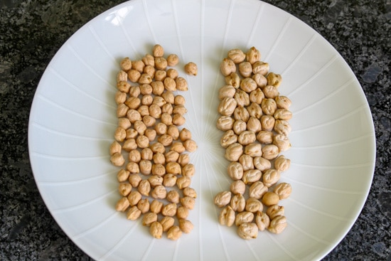 Size difference in two different brands of chickpeas