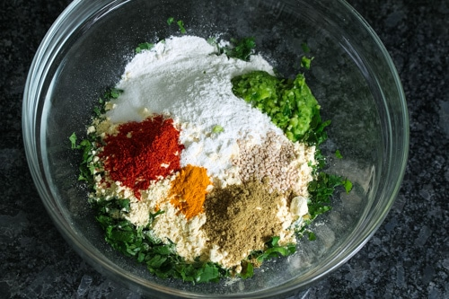 Kothimbir vadi ingredinents in a bowl