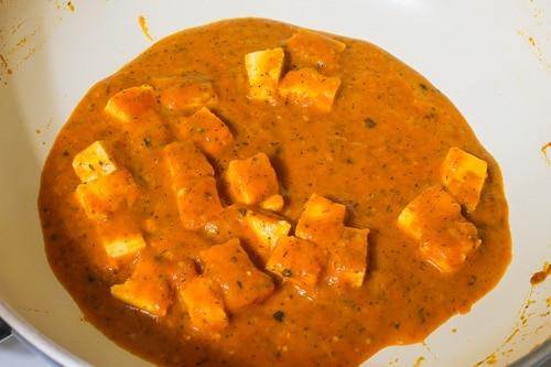Paneer makhani gravy in a pan