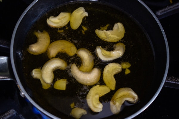 frying cashews for tempering