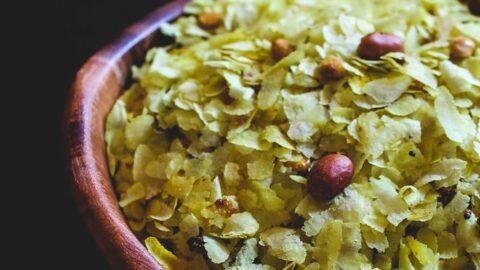 Roasted Poha Chivda Recipe (Thin Poha Chivda)