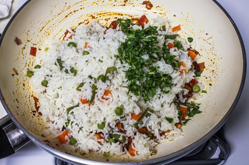 adding rice-veggies and cilantro