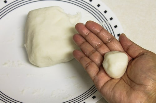 making small balls from the dough
