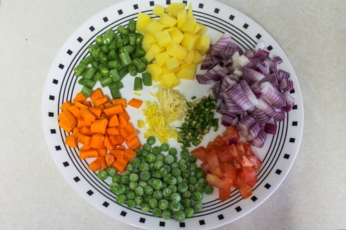 chopped veggies for vegetable pulav