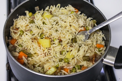 fluff up the veg pulao with fork