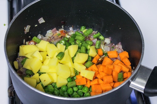 adding veggies