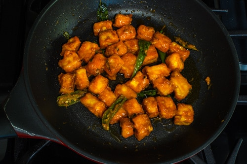 fried paneer coated with sauce