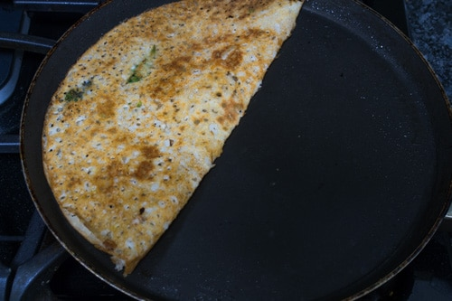rava dosa folded in half