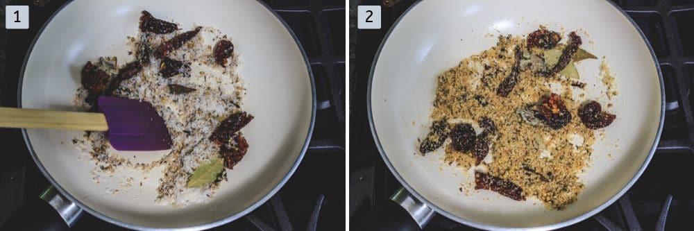 dry roasting kolhapuri msala spices