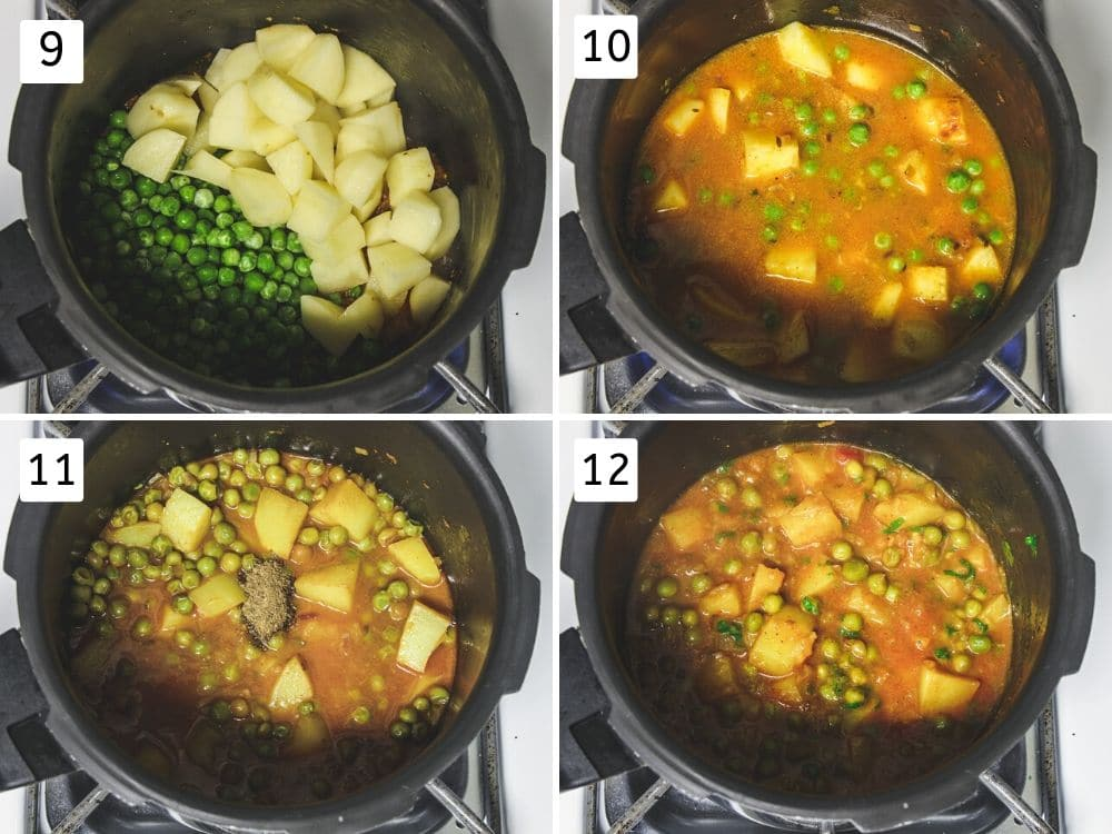 collage of cooking aloo matar in pressure cooker