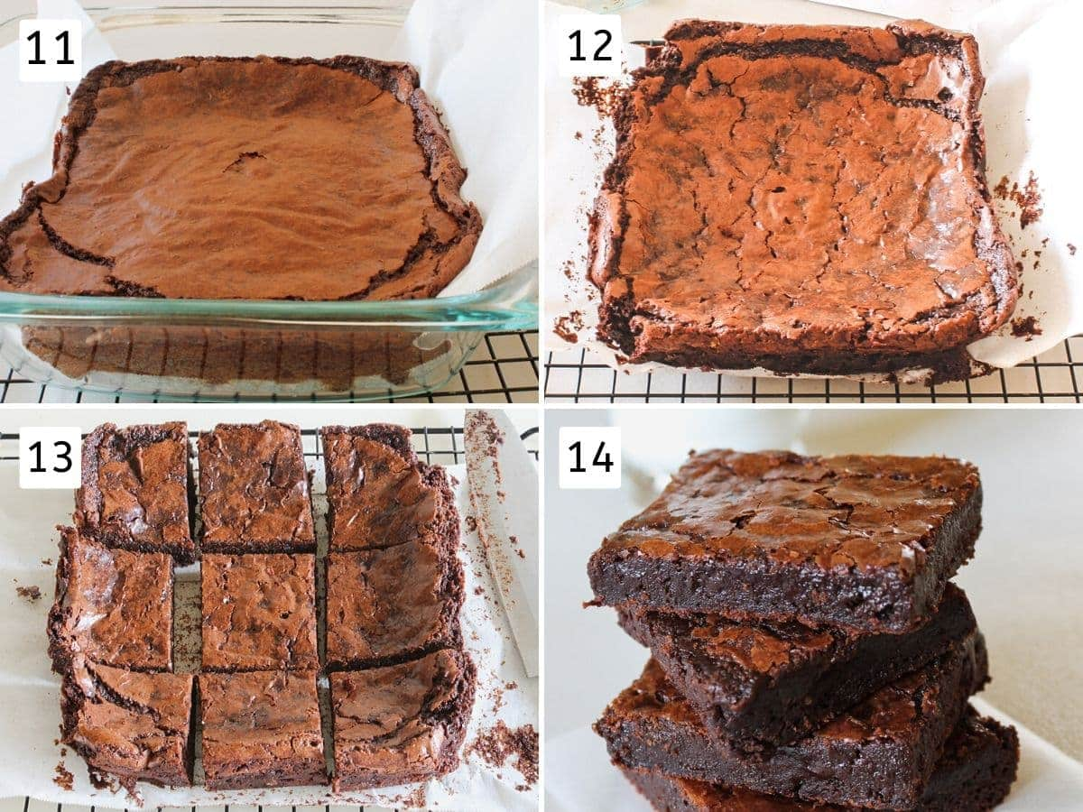 collage of baking, cutting brownies pics