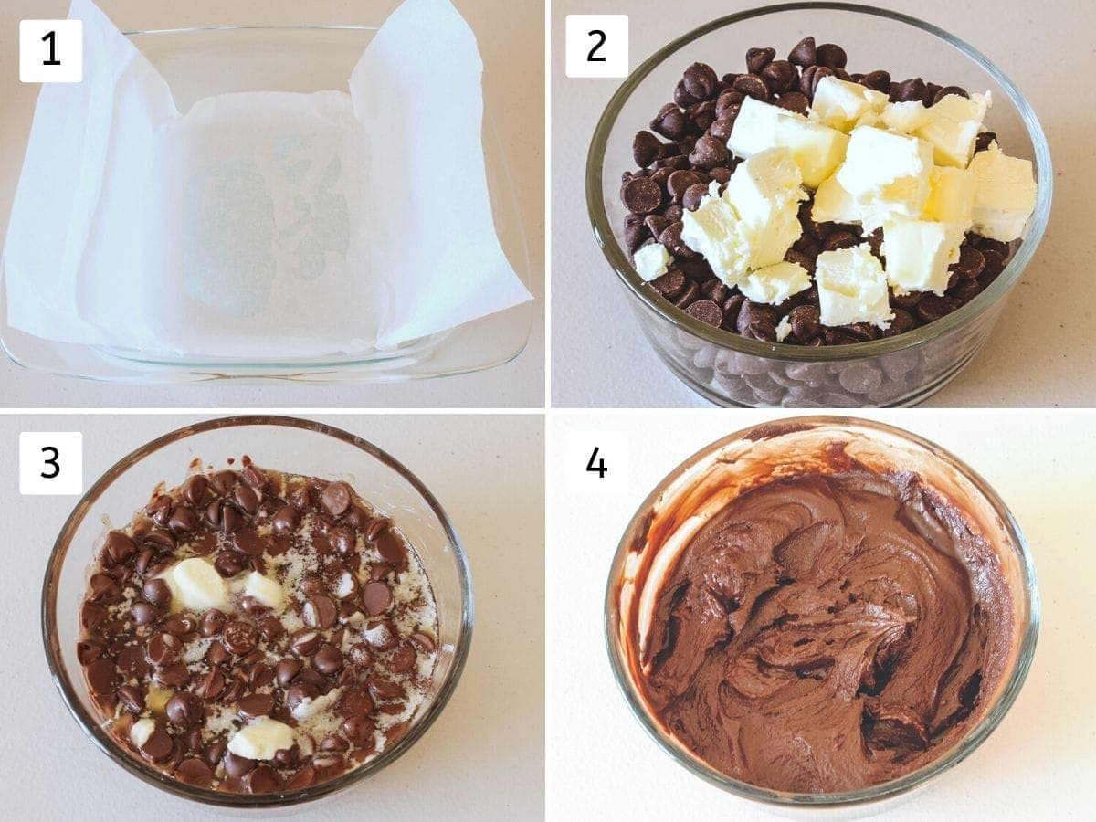 collage of melting chocolate and butter pics