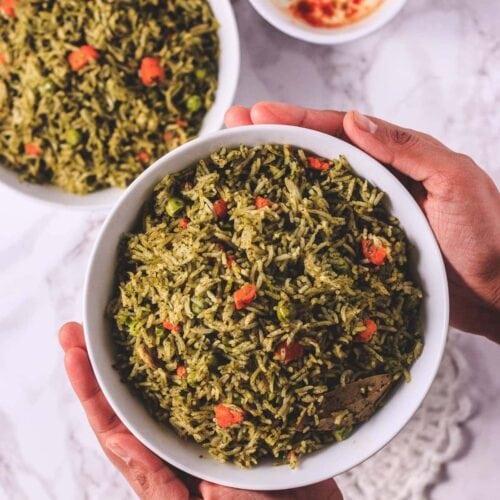 Instant Pot Palak Rice Recipe