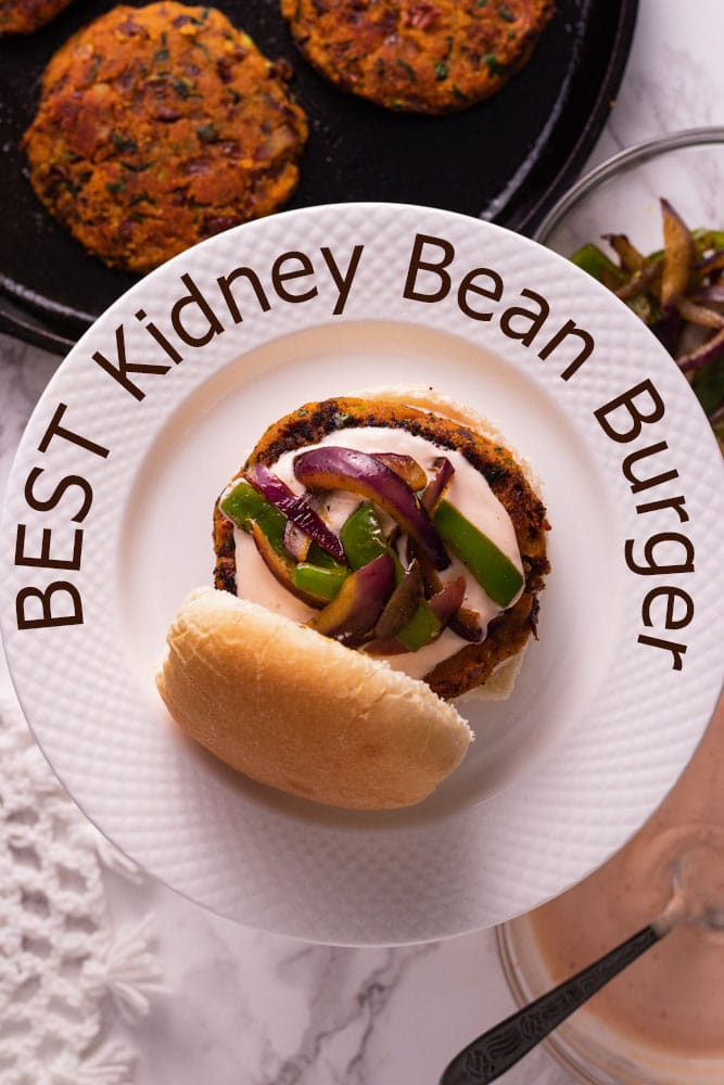 open kidney bean burger in a plate