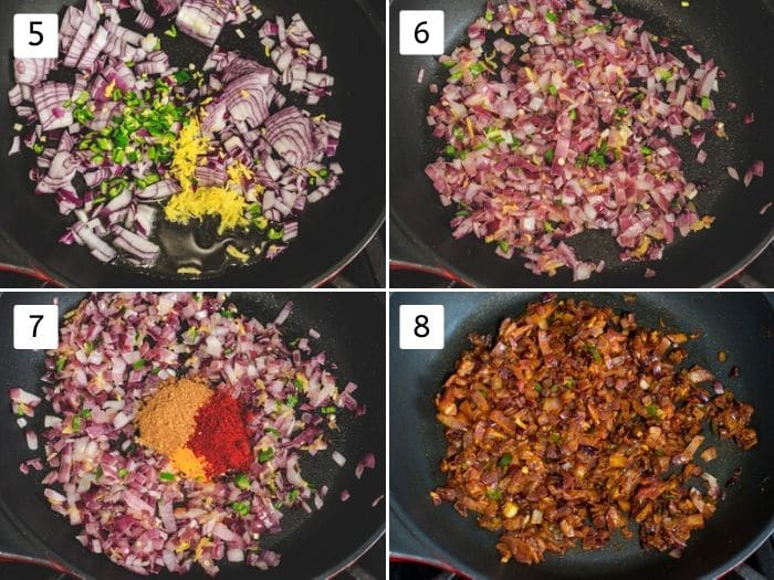 collage of onion cooking mixture
