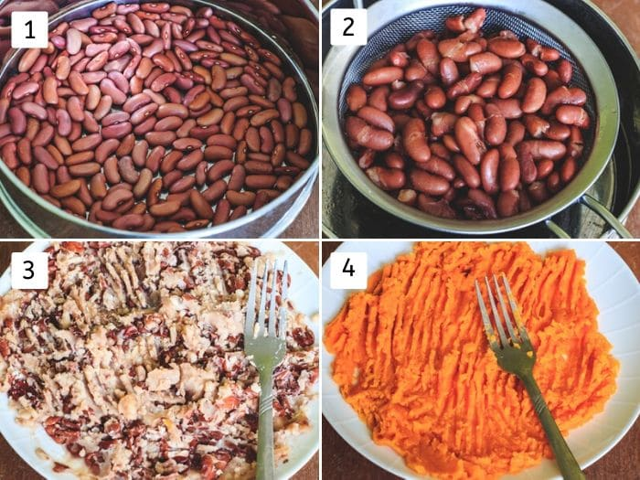 collage of cooking beans, sweet potato