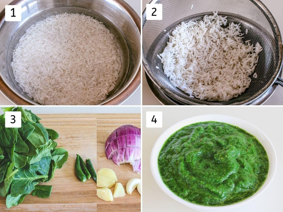collage of soaking rice and prepping puree pics