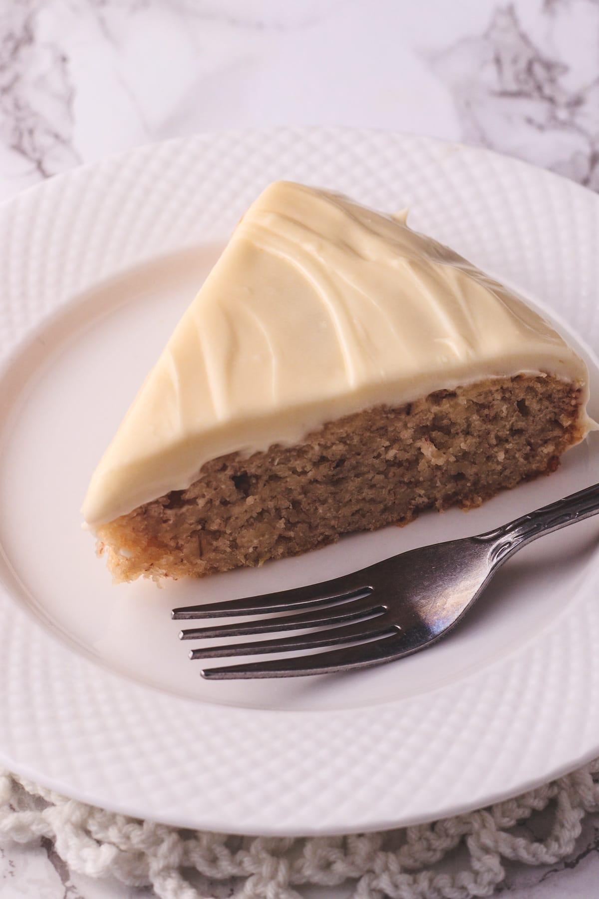 close up of eggless banana cake slice