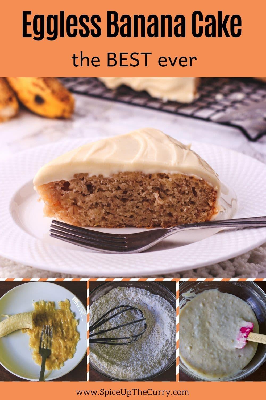 eggless banana cake recipe pin
