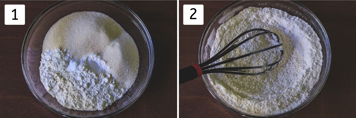 collage of mixing dry ingredients for cake pics