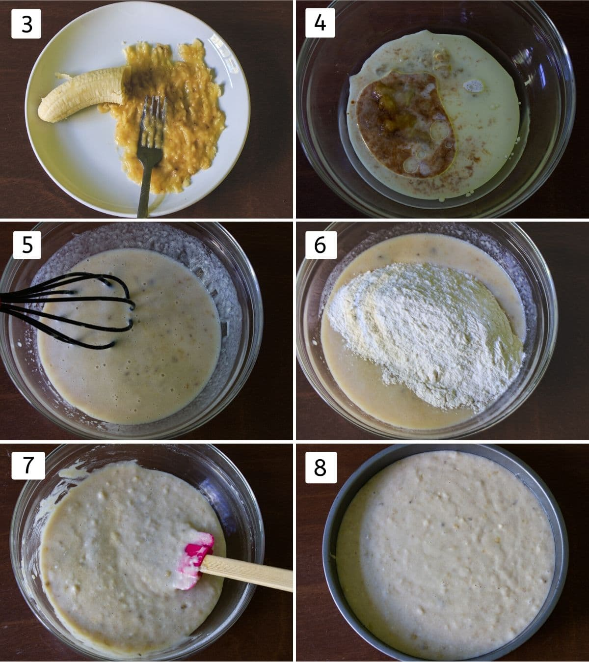 collage of making cake batter pics