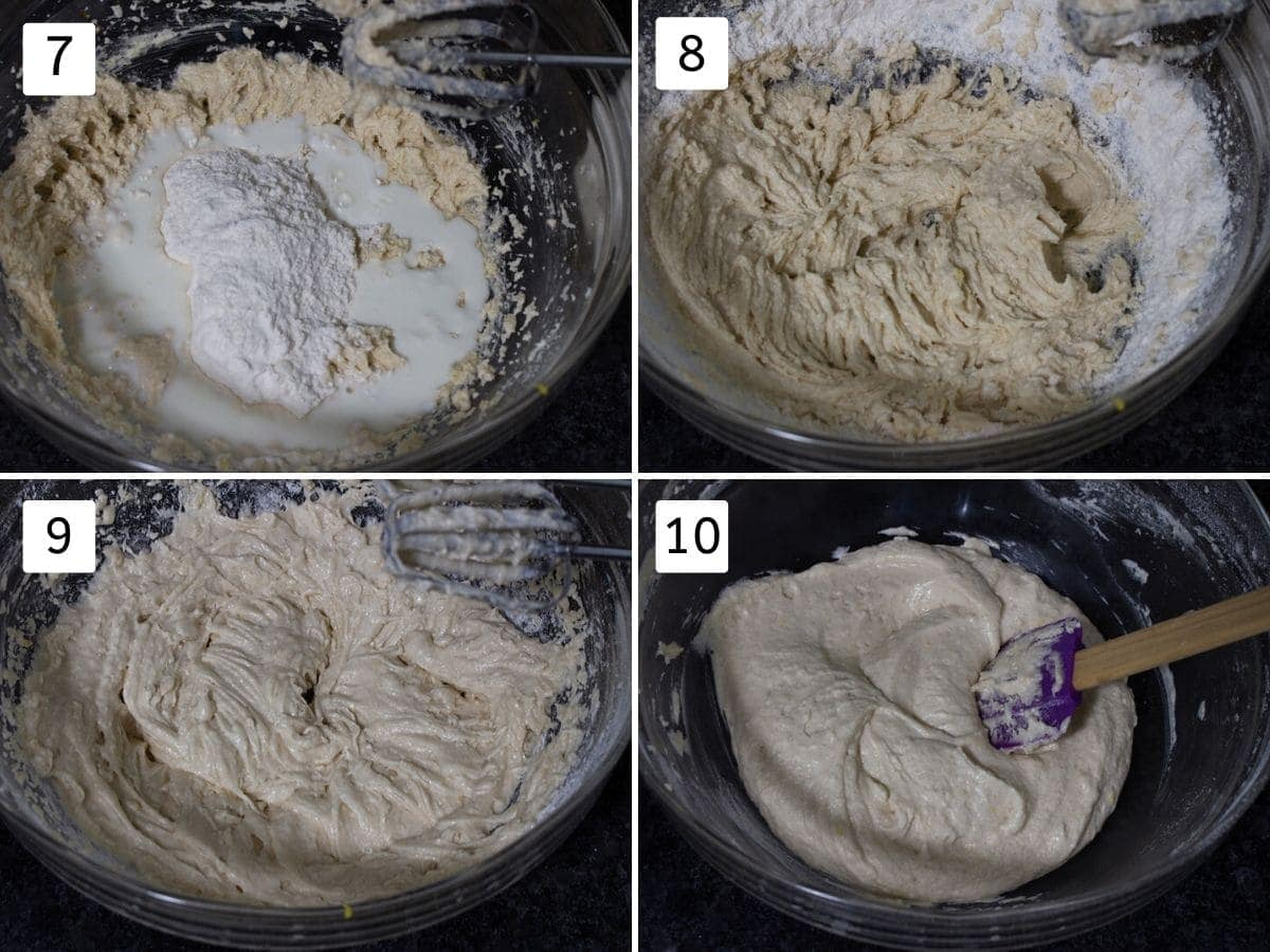 collage of adding flour and milk to make batter