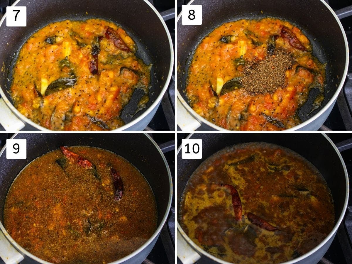 collage of adding spices and simmering rasam pics