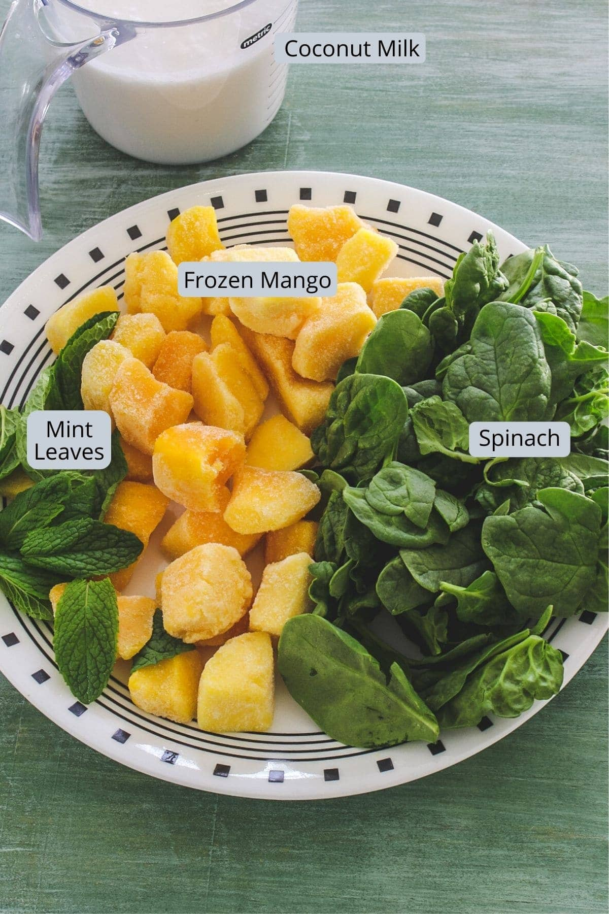 Mango mint smoothie ingredients in a plate and cup