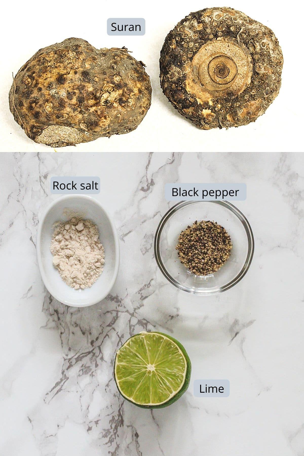ingredients used in suran chips includes suran, salt, pepper, lime juice