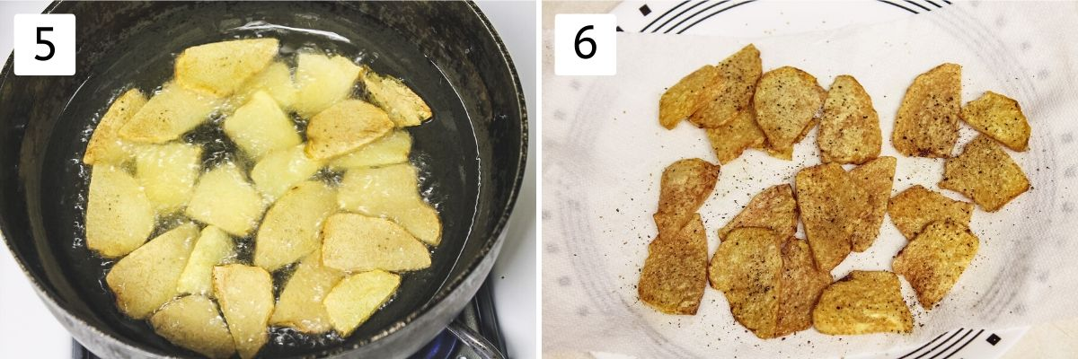 collage of frying suran slices and fried chips on a plate pics