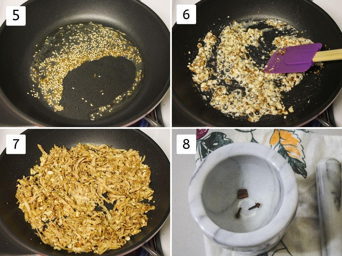 collage of 4 steps showing tempering cumin seeds, roasting peanuts, cooking grated yam, whole spices