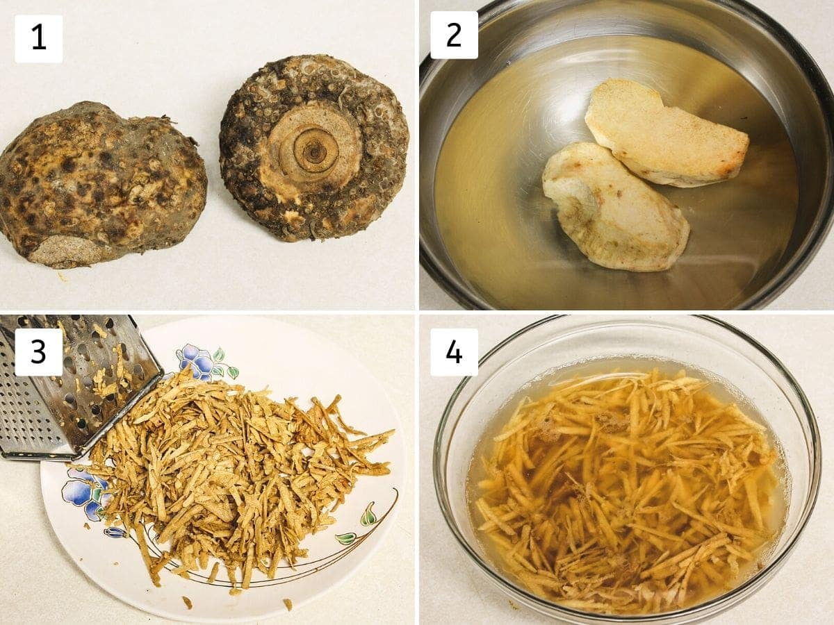 Collage of 4 steps showing whole yam, peeled yam, grated yam, soaked yam in water pics