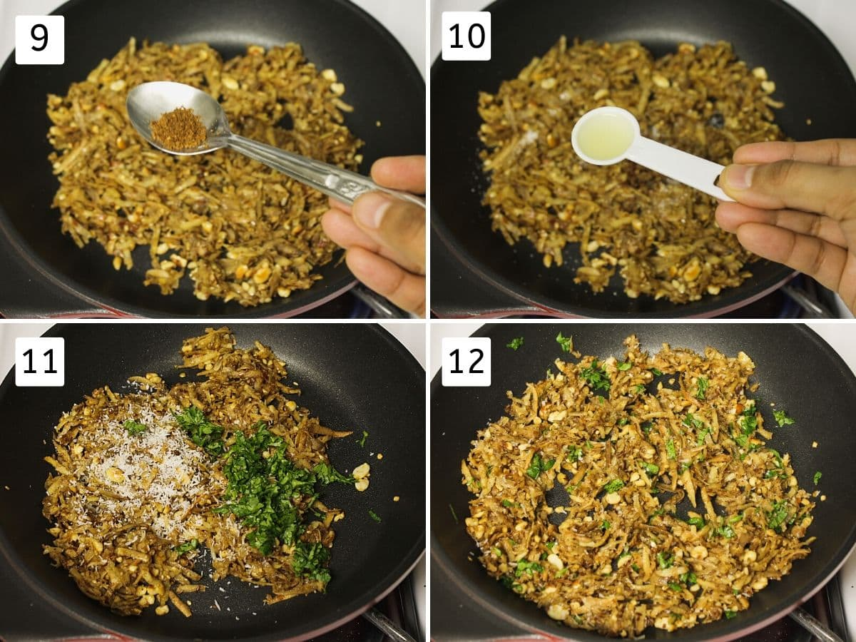 Collage of 4 steps showing adding spices, lemon juice, cilantro, ready khichdi.