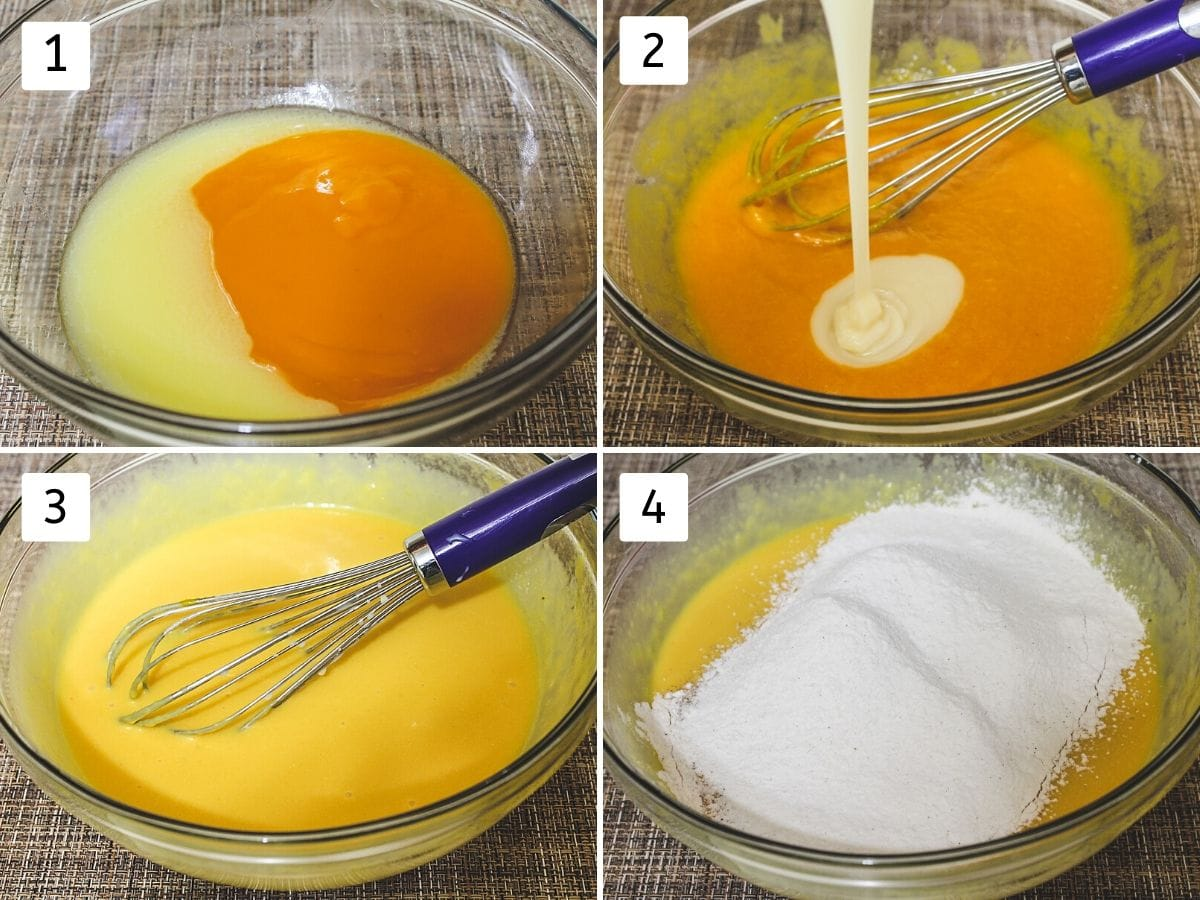 process shot of making mango cake batter