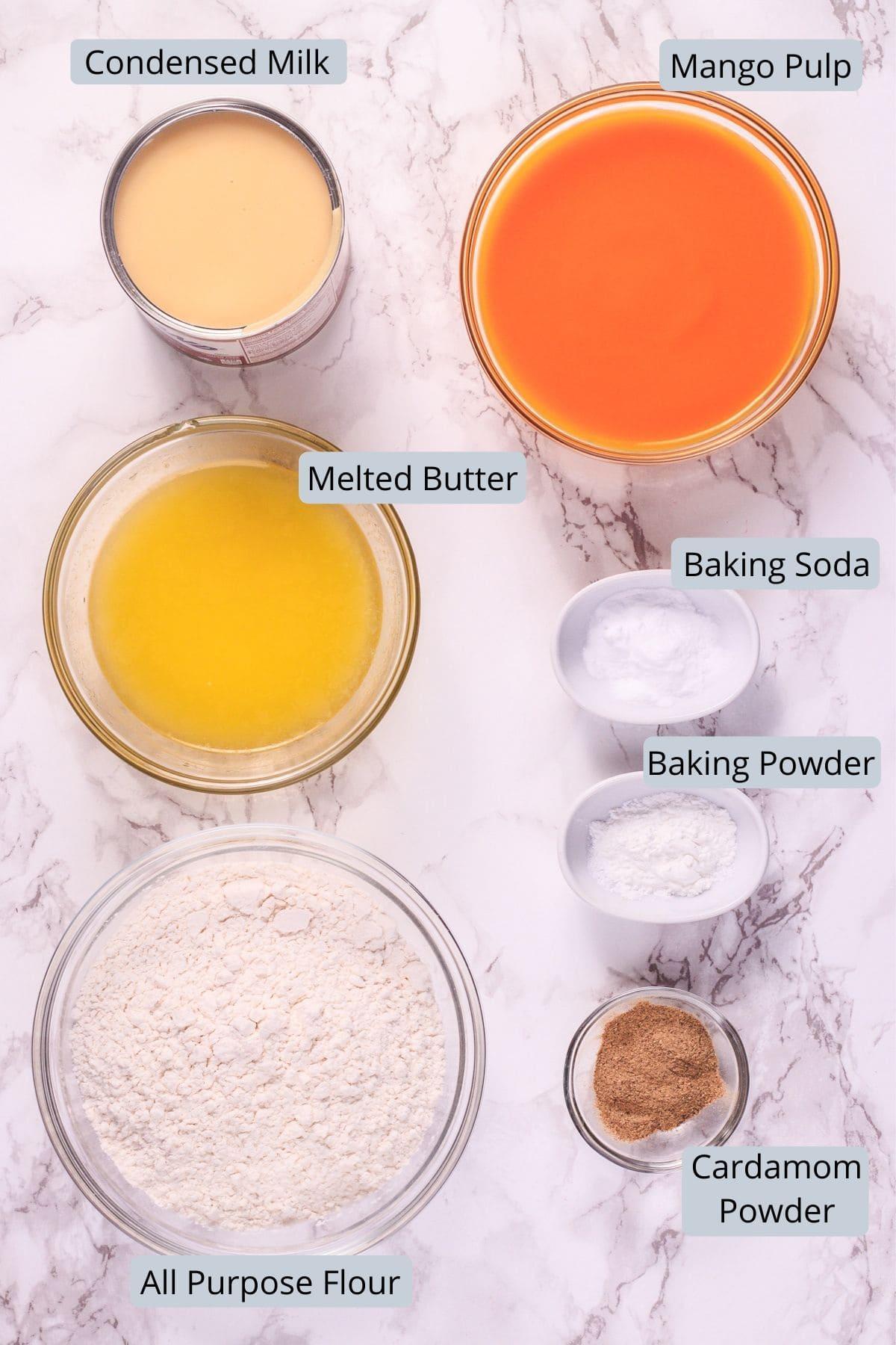 Eggless mango cake ingredients