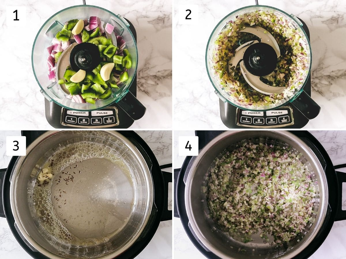 process shot of pulsing onion, pepper and sauteing in instant pot