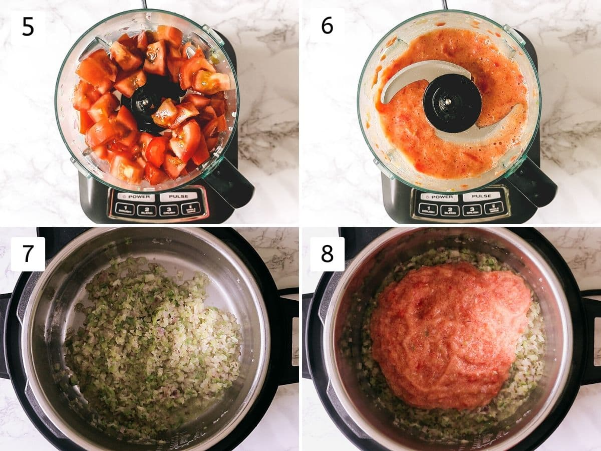 process shots of pureeing tomatoes and adding into instant pot