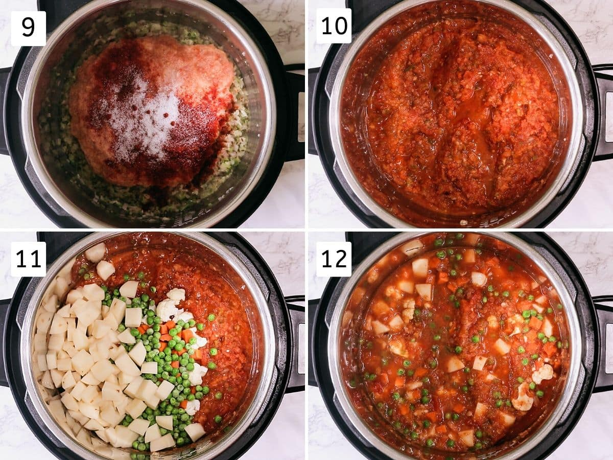 process shots of adding spices and veggies for bhaji