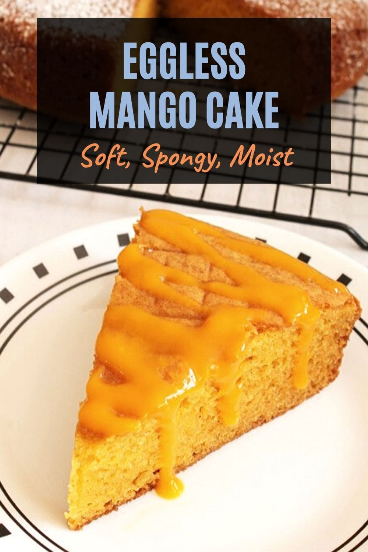 Eggless mango cake pin
