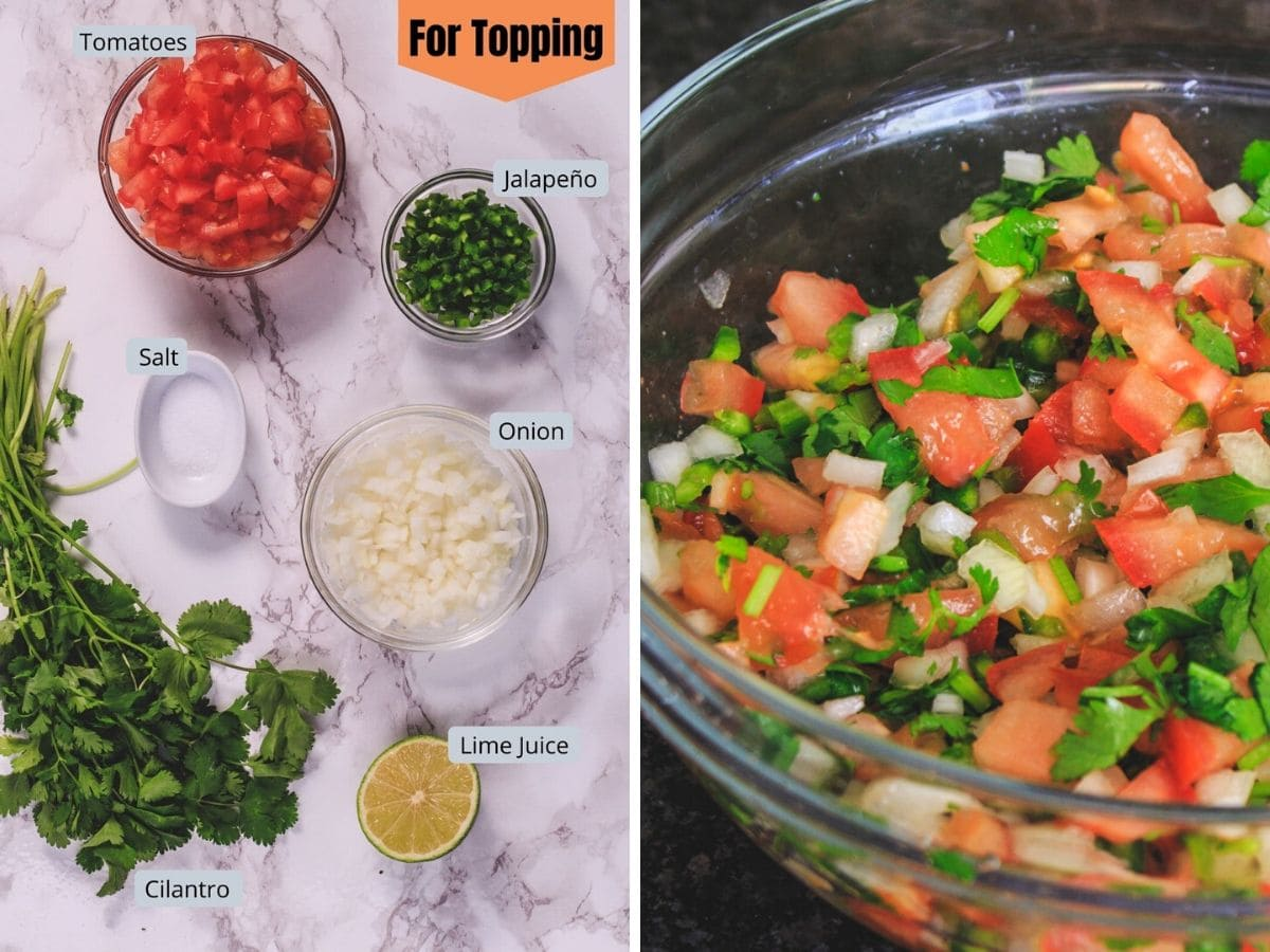 collage of pico de gallo topping ingredients and final pic