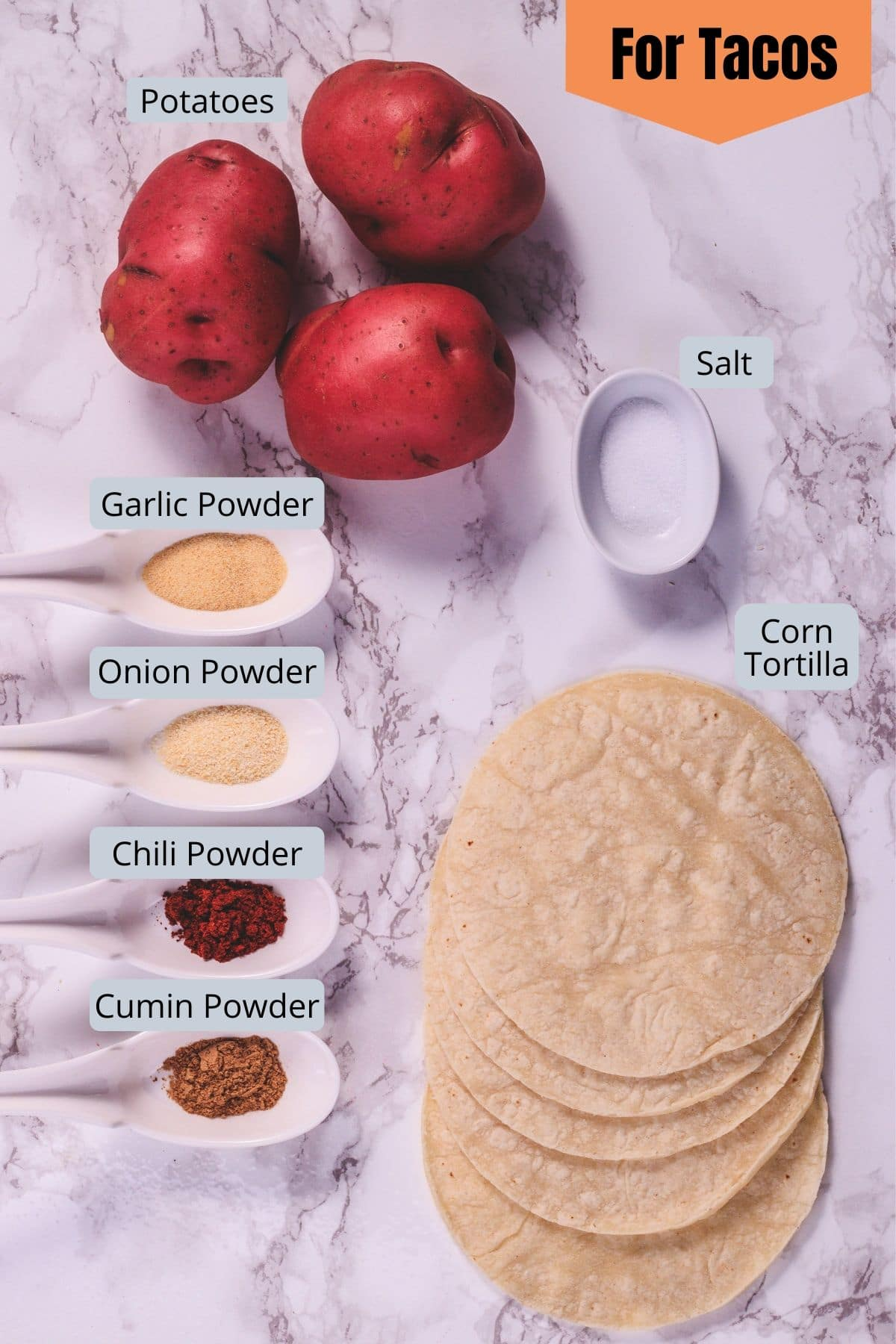 Mexican crispy potato taco ingredients