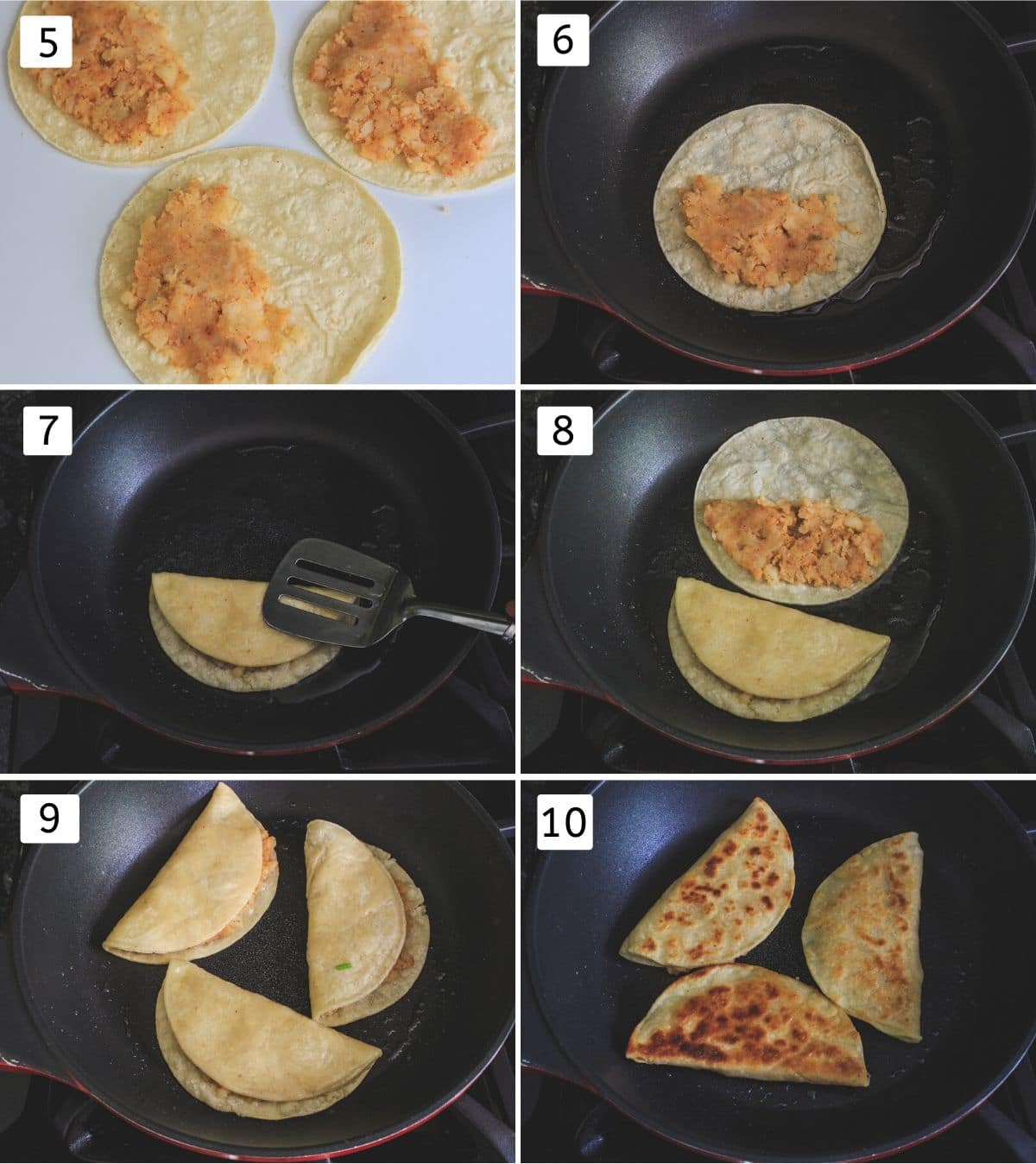 process shots of frying potato tacos