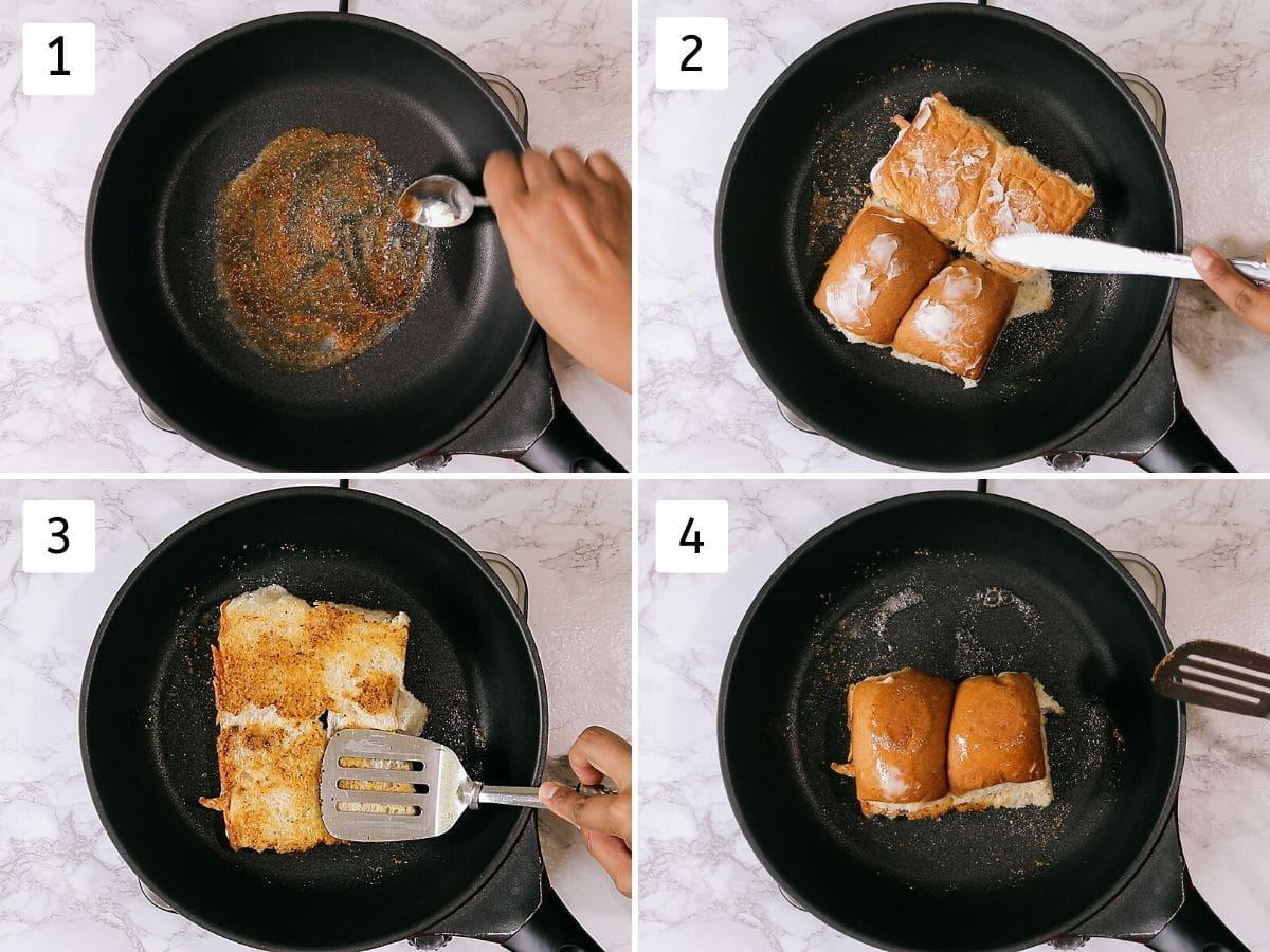 process shots of toasting buns